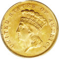 Three Dollar Gold Pieces: , 1888 $3 MS64 PCGS. Lovely golden-rose patina adheres to both sidesof this fully original example. The strike is sharp thro...