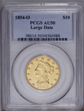 Liberty Eagles: , 1854-O $10 Large Date AU50 PCGS. Bright luster is substantial forthe grade, although the strike is typical on the eagle an...