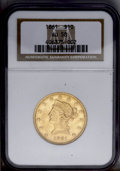 Liberty Eagles: , 1861 $10 AU58 NGC. Traces of luster are visible in the recessedareas of this apricot-gold ten dollar piece. Nice definitio...