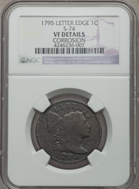 1795 1C Lettered Edge, S-74, B-2, Low R.4, -- Corrosion -- NGC Details. VF. NGC Census: (1/2). PCGS Population (0/4). Mi...