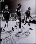 Basketball Collectibles:Photos, John Havlicek, Sam Jones and Bill Russell Multi Signed andInscribed Oversized Photograph....
