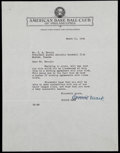 Baseball Collectibles:Others, 1941 Connie Mack Signed Letter....