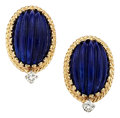 Estate Jewelry:Earrings, Lapis Lazuli, Diamond, Gold Earrings, Cellino. ...