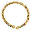 Estate Jewelry:Necklaces, Diamond, Ruby, Emerald, Gold Necklace. ...