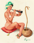 Pin-up and Glamour Art, Gil Elvgren (American, 1914-1980). Charming (Charming Trick),Brown & Bigelow calendar illustration, 1961. Oil oncanvas... (Total: 2 Items)