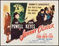 "Movie Posters:Film Noir, Johnny O'Clock (Columbia, R-1956). Half Sheet (22"" X 28""). Film Noir.. ..."