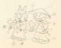 Animation Art:Production Drawing, Asian Boy and Girl Color Model Drawing (Walter Lantz Productions,1930s)....