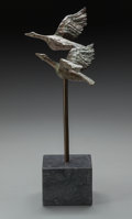 Bronze:Contemporary, A Vera de Haas Patinated Bronze Sculpture: Geese Flying,20th century. 12 inches (30.5 cm) high on a 3 inches (7...