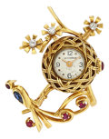Estate Jewelry:Watches, Swiss Lady's Multi-Stone, Gold Lapel Watch, French. ...