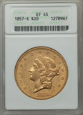 Liberty Double Eagles: , 1857-S $20 XF45 ANACS. NGC Census: (235/887). PCGS Population (133/423). Mintage: 970,500. Numismedia Wsl. Price for proble...