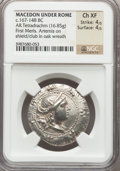 Ancients:Greek, Ancients: MACEDON. Roman Protectorate. Ca. 167-149 BC. ARtetradrachm (16.85 gm). NGC Choice XF 4/5 - 4/5....
