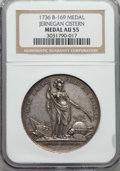 Betts Medals, 1736 Jernegan Cistern Medal AU55 NGC. Betts-169. Silver....
