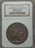 Betts Medals, 1739 Admiral Vernon and Don Blass, Porto Bello, XF40 NGC.Betts-298, Adams-Chao-PBvl-9-M....