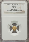 California Fractional Gold , 1859 25C Liberty Octagonal 25 Cents, BG-702, R.3, MS65 NGC. NGCCensus: (12/28). PCGS Population (17/2). ...