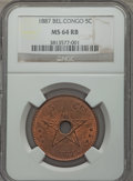 Belgian Congo, Belgian Congo: Belgian Colony 5 Centimes 1887 MS64 Red and BrownNGC,...