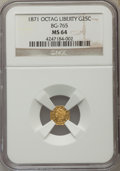 California Fractional Gold , 1871 25C Liberty Head Octagonal 25 Cents, BG-765, R.3 MS64 NGC. NGCCensus: (5/2). PCGS Population (25/4). ...