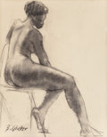 Fine Art - Work on Paper:Drawing, Benjamin C. Glicker (American, b. 1914). Female Nude.Charcoal on paper. 23 x 18 inches (58.4 x 45.7 cm) (sight).Signed...