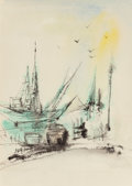 Fine Art - Painting, American:Modern  (1900 1949)  , E. R. Hirsch (American, 20th Century). Sail at Harbor.Watercolor and ink on paper. 12-1/4 x 8-1/2 inches (31.1 x 21.6c...