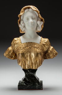 After Affortunato Gory (French/Italian, 1895-1925) Girl in Bonnet Marble and bronze with gilt 15