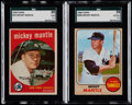 Baseball Cards:Lots, 1959 & 1968 Topps Mickey Mantle SGC Graded Pair (2)....