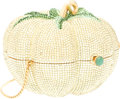 "Luxury Accessories:Bags, Judith Leiber Full Bead Yellow & Green Crystal TomatoMinaudiere Evening Bag. Very Good to Excellent Condition.4"" Wid..."