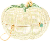 Judith Leiber Full Bead Yellow & Green Crystal Tomato Minaudiere Evening Bag Very Good to Excellent Condition&lt...