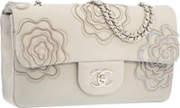 Chanel Gray Lambskin Leather Camellia Beaded Flap Bag with Silver Hardware Excellent Condition 10