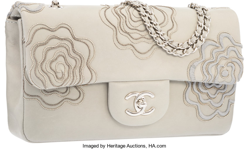 140ec4ebb818 Luxury Accessories:Bags, Chanel Gray Lambskin Leather Camellia Beaded Flap  Bag with SilverHardware.
