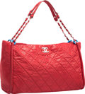 "Luxury Accessories:Bags, Chanel Red Quilted Velvet Leather Shopping Tote Bag with SilverHardware. Excellent to Pristine Condition. 15"" Widthx..."