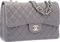 "Luxury Accessories:Bags, Chanel Gray Quilted Lambskin Leather Jumbo Single Flap Bag withSilver Hardware. Excellent Condition. 12"" Width x 7""H..."