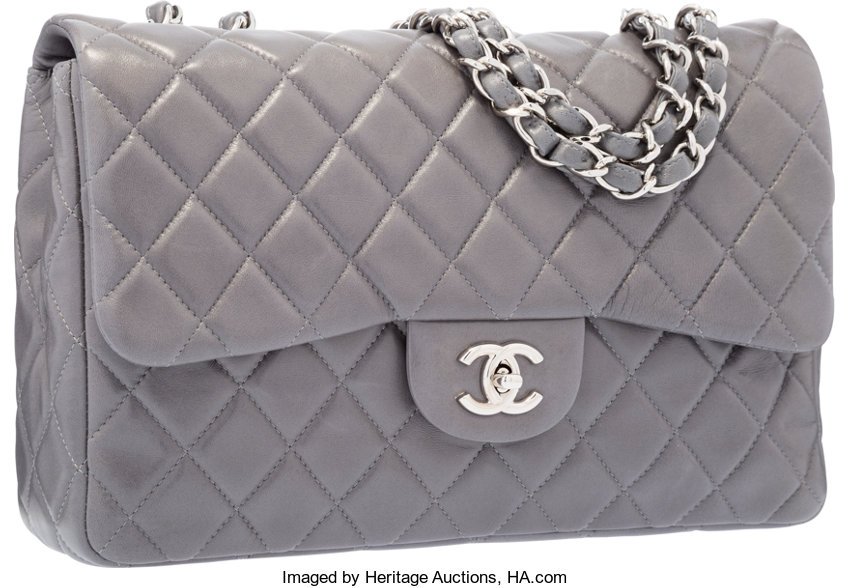 8bd69f636e6a Chanel Gray Quilted Lambskin Leather Jumbo Single Flap Bag