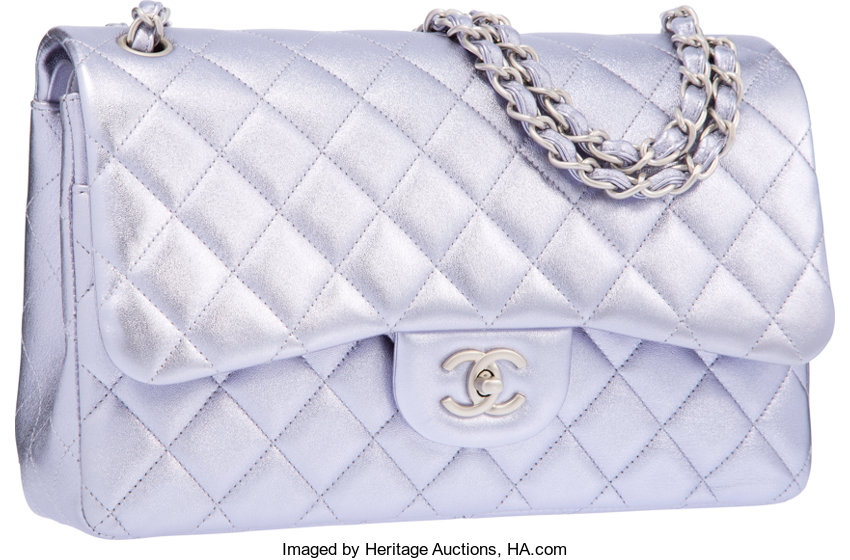 8b0802d74966ee ... Luxury Accessories:Bags, Chanel Metallic Purple Quilted Lambskin Leather  Jumbo Double FlapBag with Matte ...