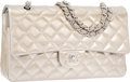 Luxury Accessories:Bags, Chanel Metallic Silver Quilted Patent Leather Medium Double FlapBag with Silver Hardware. Excellent to Pristine Condition...