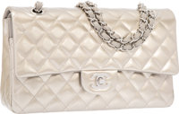 Chanel Metallic Silver Quilted Patent Leather Medium Double Flap Bag with Silver Hardware Excellent to Pristine