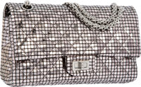 Chanel Metallic Silver Quilted Lambskin Leather Medium Reissue Double Flap Bag with Silver Hardware Very Good t