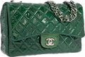 Luxury Accessories:Bags, Chanel Pearlescent Green Quilted Patent Leather Jumbo Single FlapBag with Silver Hardware. Very Good to Excellent Conditi...
