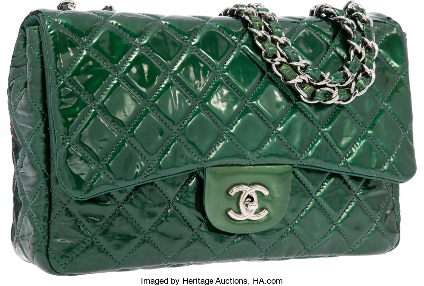 252123825553 ... Luxury Accessories:Bags, Chanel Pearlescent Green Quilted Patent  Leather Jumbo Single FlapBag with Silver ...