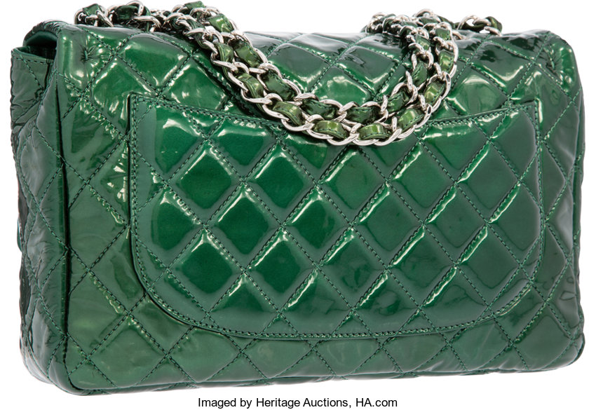 51d4032bf3d2 Chanel Pearlescent Green Quilted Patent Leather Jumbo Single | Lot #58226 |  Heritage Auctions