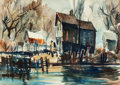 Fine Art - Painting, American:Modern  (1900 1949)  , Ross Sullenberger (American, 20th Century). Village by theWater, 1954. Watercolor on paper. 13-1/2 x 19 inches (34.3 x...