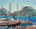 Fine Art - Painting, American:Contemporary   (1950 to present)  , Les Tilles (American, 20th Century). St. John's Harbor. Oil on canvas laid on masonite. 16 x 20 inches (40.6 x 50.8 cm)...