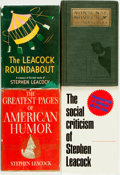 Books:Social Sciences, [Stephen Leacock]. Group of Four First Editions by or aboutLeacock. Various publishers, 1923 - 1973. . ... (Total: 4 Items)