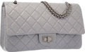 "Luxury Accessories:Bags, Chanel Gray Quilted Distressed Leather Reissue Jumbo Double FlapBag with Gunmetal Hardware. Very Good Condition. 12""..."