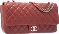 Luxury Accessories:Bags, Chanel Red Quilted Lambskin Leather East West Single Flap Bag withSilver Hardware. Very Good to Excellent Condition....