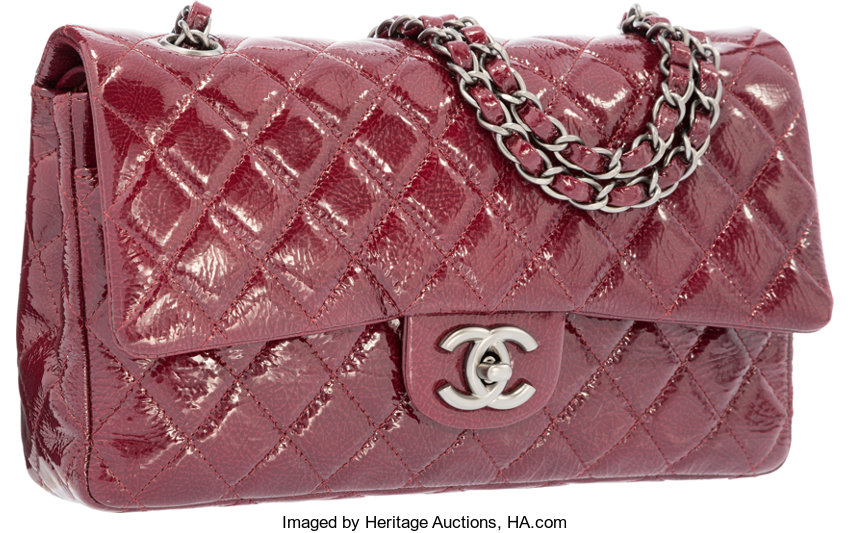Chanel Red Quilted Distressed Patent Leather Medium Double Flap ... 13cadfeb23ebf
