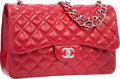 "Luxury Accessories:Bags, Chanel Red Quilted Caviar Leather Jumbo Double Flap Bag with SilverHardware. Excellent Condition. 12"" Width x 8"" Heig..."