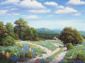 Fine Art - Painting, American:Contemporary   (1950 to present)  , Ronnie Hedge (American, 1954-2010). Hill Country in Bloom,1994. Oil on canvas. 30 x 40 inches (76.2 x 101.6 cm). Signed...