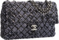 "Luxury Accessories:Bags, Chanel Black & Navy Blue Sequin Medium Single Flap Bag withGunmetal Hardware. Excellent to Pristine Condition. 10""Wi..."
