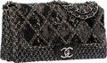"Luxury Accessories:Bags, Chanel Black & White Tweed Boucle and Sequin Flap Bag withSilver Hardware. Very Good to Excellent Condition. 12""Widt..."