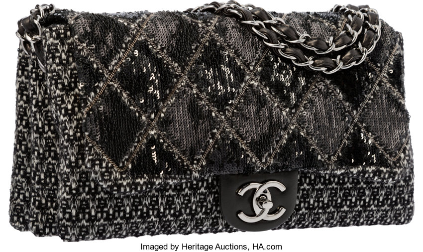 18abb2b28f61 ... Luxury Accessories:Bags, Chanel Black & White Tweed Boucle and Sequin  Flap Bag ...