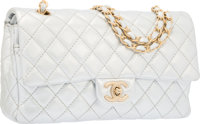 Chanel Metallic Silver Quilted Lambskin Leather Medium Double Flap Bag with Matte Gold Hardware Very Good to Ex